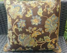 Dransfield & Ross Brown Multicolor Beads Embroidered Floral Linen Back Pillow 18