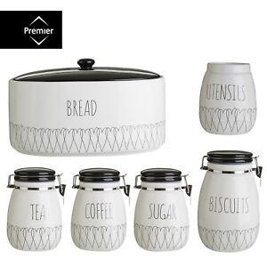 Heartlines Tea Coffee Sugar Canister Bread Bin Biscuit Utensit Storage Jar