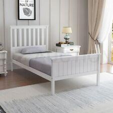 Single Size Wooden Bed Frame Pine Platform Mattress Base w/Headboard - White