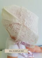 Vintage Baby Doll Bonnet Lace Frilly Floral Flower Lavender Ribbon Bow A3