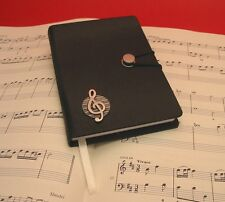 Treble Clef Pewter Motif A6 Black Journal Notebook Teacher Music Xmas Gift