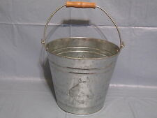 Small Tin Horse Head Bucket Pail Wooden Handle Rustic Cabin Western Decor
