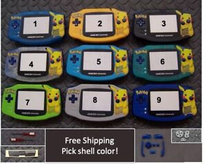 Pikachu Gameboy Advance GBA Replacement Housing Shell Plastic Screen -Pick Color