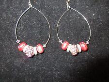 Crystal Pink Purple Beaded Chic Statement Hoop Earrings Hand-Crafted Rhinestone