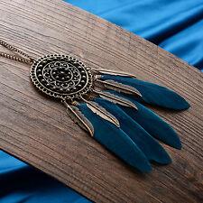 Women Retro Long Plated Bronze Feather Leaf Tassel Pendant Bib Necklace Chain