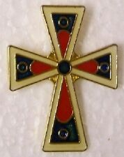 Hat Lapel Pin Push Tie Tac Religious Celtic Stylized Cross red black NEW