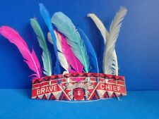VINTAGE CHILD BRAVE CHIEF INDIAN PAPER  HEADRESS- JAPAN