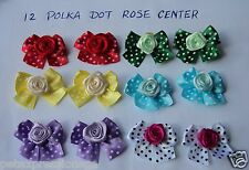12 Dog Hair Bows Collection!!!-Dress up your doggie-Polka-Dot w Rose center