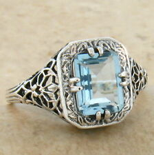 GENUINE BLUE TOPAZ ANTIQUE ART DECO STYLE 925 STERLING SILVER RING SZ 9, #675