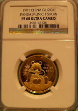 China 1991 Gold 1/2 oz Panda NGC PF-68UC Munich Show