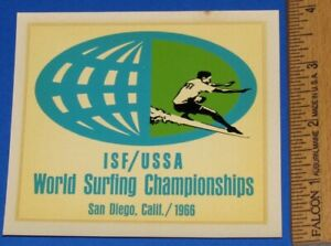 Vintage Original 1966 World Surfing Championships California Water Slide Decal