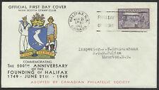Canada 1949 FDC- Halifax, Sc #283, C.P.S. Nova Scotia Stamp Club Cachet