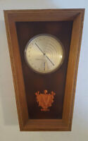 Mid Century Modern Advance Dial THI/M Thermometer Barometer Wood Leather