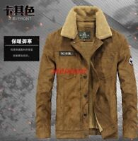 Mens Leather Winter Warm Fur Lined Motorcycle Thick Coat Outwear Jacket Stylish&