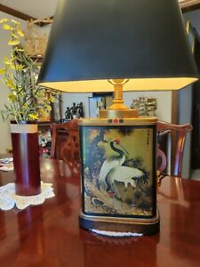 Frederick Cooper Chinese Cranes Tole Chinoiserie Tea Canister 3-Way Lamp & Shade