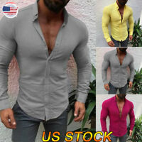 Men's Slim Fit V Neck Long Sleeve Muscle Tee T-shirt Casual Tops Muscle Shirts