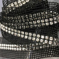 90cm Length Mesh Ribbon 2 Rows Diamante Decor Sewing Material Tape Trim Chic DIY