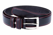 Golf belts for Men Black perforated leather belt Red stitch Dress trousers 38""