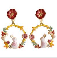 E1057 Betsey Johnson Wonderland Easter Rabbit Bunny Flower Rose Garden Earrings