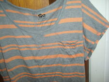 SO SHORT SLEEVED STRIPED LOOSE FIT TEE SHIRT SIZE JUNIOR S GRAY ORANGE