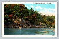 Whitehall NY, Putt's Rock, Lake Champlain, Vintage New York Postcard