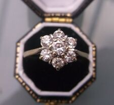 Women's 9ct Gold CZ Stone Cluster Ring Stamped Size S Weight 2.1g Quality Ring