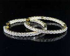 Women's Yellow Gold Finish Lab Diamond Hoop .925 Sterling Silver Earrings