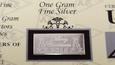 Merry Christmas 2018! .999 Fine Silver 1Gram ACB Bullion Bar W/ CERTIFICATE =