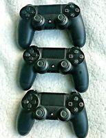 Lot of 3 Original Sony PS4 PlayStation Dualshock 4 Wireless Controller Jet Black