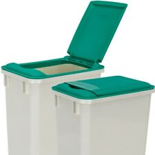 Pack of 2- White 35 Quart Trash Cans with green lids