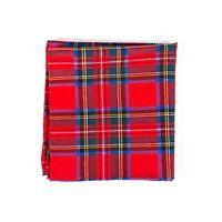 Polo Ralph Lauren Pocket Square 100% Wool Red Tartan Handmade Italy Handkerchief