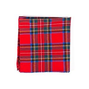 Polo Ralph Lauren Pocket Square Wool Red Tartan Handmade Italy Handkerchief