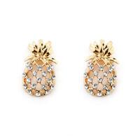 Gemstone Pineapple Leaf Topaz Zircon Hollow out Alloy Party Studs Earrings
