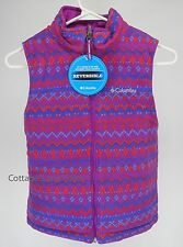 NEW COLUMBIA Ice Chips Reversible VEST Girls S Bright Plum Fairisle FREE SHIP