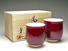 YUNOMI pair Japanese tea cup ARITA porcelain yaki SHINEMON kiln Chinnabar w/box