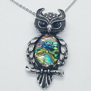 Owl Necklace iridescent Coloured Quartz Healing Stone Yoga Chakra Reiki Chain