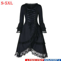 Lady Victorian Gothic Lace Dress Steampunk Long Sleeve Corset Mini Retro Dresses