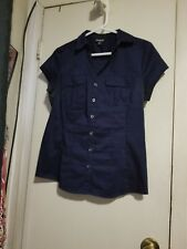 NWOT Navy blue button down short sleeve blouse, sz. med. 2 front pockets.