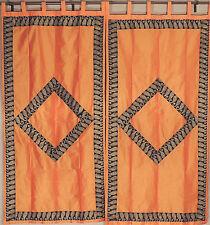 "Paisley Embroidery Orange Curtains - 2 Faux Dupion Window Fashion Panels 82"""