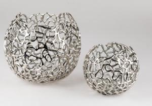 formano Windlicht Kugel 20cm Alu - Koralle aus silbernem Metall 624888