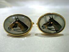 Reverse Intaglio Horse Cuff Links 10.3G Vintage 14K Gold Krementz Essex Crystal