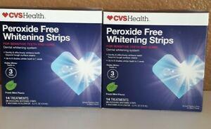 2 Pack CVS Peroxide-Free Whitening Mint Strips Sensitive 14 Treatment (28 Strip)