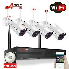 ANRAN 1080P HD CCTV Security Camera System Wireless Home 8CH NVR 1TB HDD 2MP Set