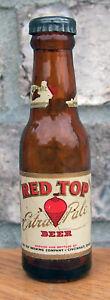 Red Top Miniature Long Neck Beer Bottle Salt Pepper Cincinnati OH Mini Cone Flat