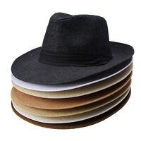 Men Women Fedora  Trilby Straw Hats Cowboy Summer Beach Sun Wide Brim Panama Cap