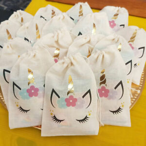 Unicorn Party favor bags with Gold Foil Horn