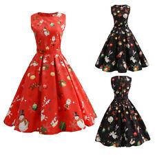 Women Christmas Dress Plus Size Red Rockabilly Vintage Sleeveless Swing Dresses