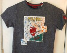 Bass by Ron Bass T Shirt Blue Faith Heart All Embellished Size XL Vintage