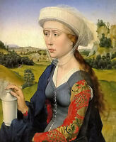 Oil painting rogoer vander weyden - braque family triptych right panel nice lady