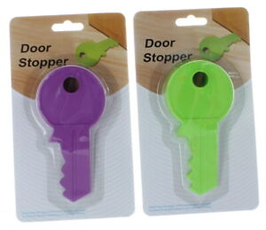 Lot of 2 Key Shaped Rubber Door Stopper Flexible Non-Scratching Wedge Doorstop